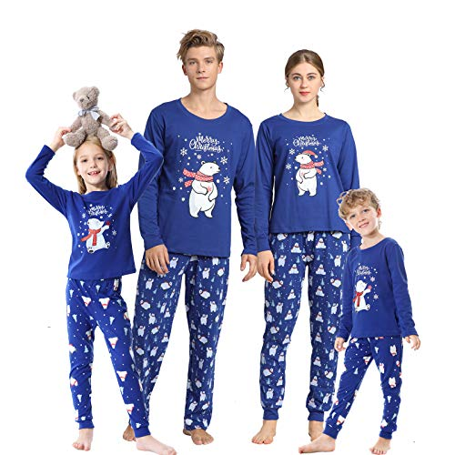 Vopmocld Christmas Family Matching Pajama Red Holiday Pjs Sets Cotton Sleepwear Polar Bear-Blue Men-Small