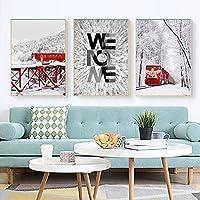 """北欧のキャンバス絵画美しい雪景色列車のポスター壁アートプリントミニマリストの印刷室の家の装飾-23.6"""" x 31.4""""(60x80cm)X3フレームレス"""