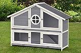 Clapier en Lapin spacieux/clapier Lapin extérieur Momo – imperméable – Deux etages - Nettoyage Facile – 140 x 53 x 110 cm – Gris/Blanc