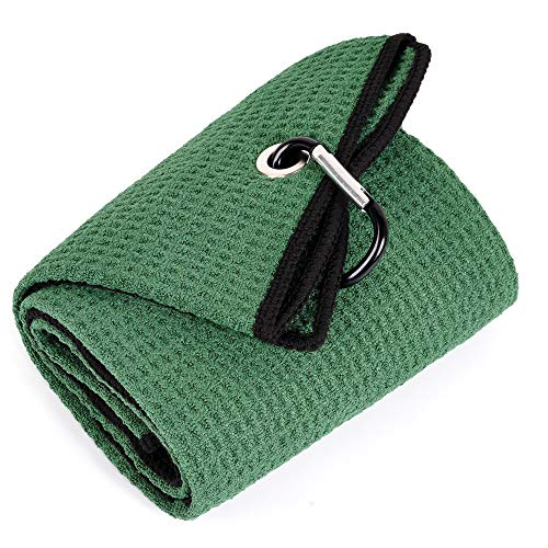 Mile High Life Tri-fold Golf Towel | Premium Microfiber Fabric | Waffle Pattern | Heavy Duty Carabiner Clip (Green/Black)