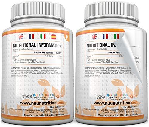 Vitamin C 1000mg 180 Tabletten (6 Monatsversorgung) von Nu U Nutrition - 4