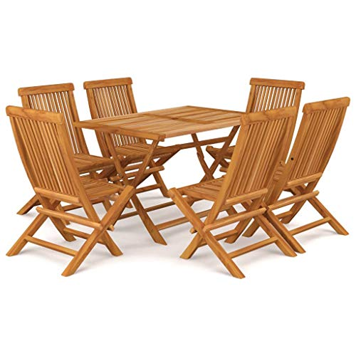BIGTO Outdoor Dining Set B of 7 Pcs Solid Acacia Wood Garden Table Chair Set Patio Furntain