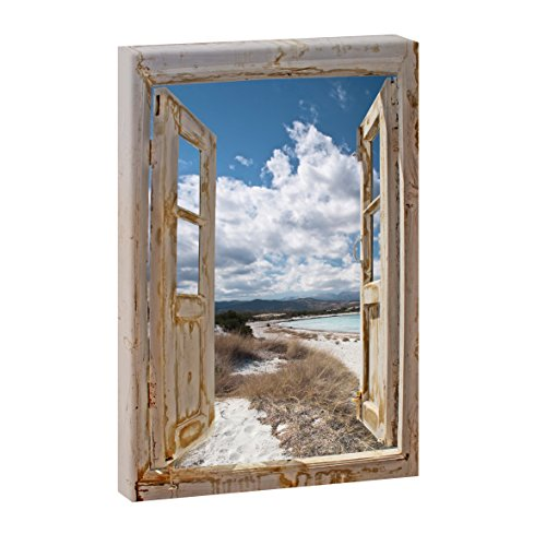 Querfarben Fensterblick Endloser Strand | Panoramabild im XXL Format | Kunstdruck auf Leinwand | Wandbild | Poster | Fotografie (100 cm x 65 cm | Hochformat, Farbig)