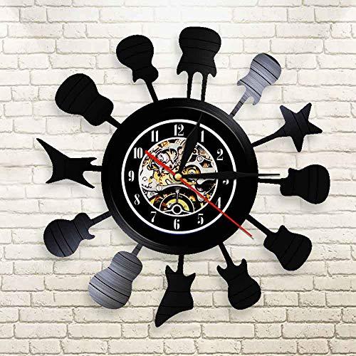 LBJZD Reloj de Pared Círculo De Guitarras Instrumento Musical Silueta Reloj De...