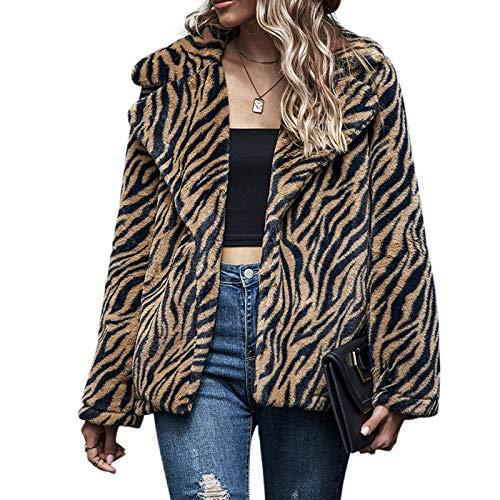 karrychen Women Long Sleeve Fuzzy Plush Coat Zebra Stripes Lapel Collar Jacket Cardigan- M#