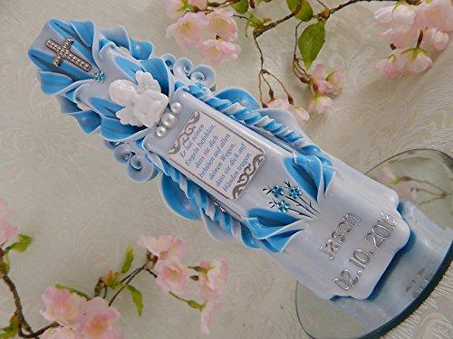 Geschnitzte Taufkerze Kommunionkerze blau für Jungen mit Engel und Taufspruch inkl. Name und Datum