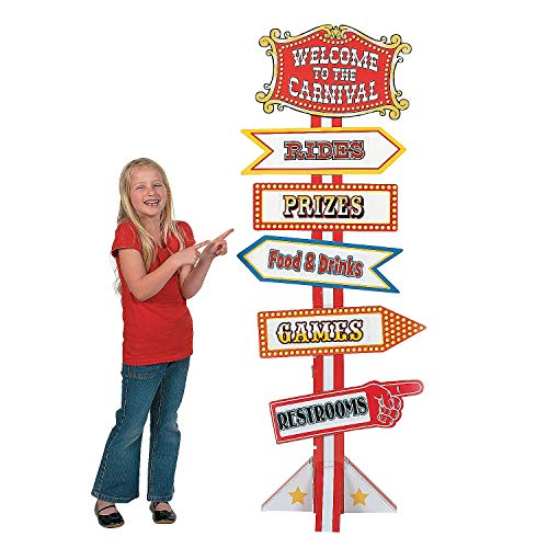 Fun Express Big Top Circus and Carnival Directional Sign (5 feet Tall Cardboard Stand up) Party Decor