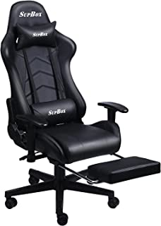 SupBox ゲーミングチェア ゲームチェア デスクチェア オットマン付き椅子 ロッキング機能付き 180°リクライニング 130kg高耐荷重 高さ調整可能 ハイバック ランバーサポート/ヘッドレスト有り SGS認証取得済み (フルブラック)