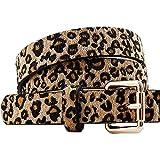 Cinturón de Leopardo, Cinturón de Cuero Pu Mujer, Cinturón de Mujer con Hebilla, Ajustable, Retro, Elegante Mujer de Moda Cinturón, para Vestido Camisero, Camisas Largas, Mamelucos y Jeans