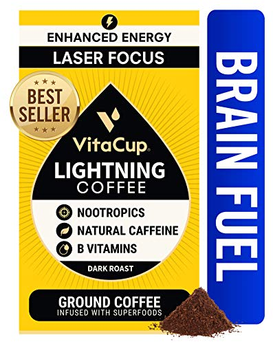 VitaCup Lightning Dark Roast Coffee Ground 12oz w/ Nootropics & Vitamins for Enhanced Energy & Focus for Drip Coffee Brewers & French Press