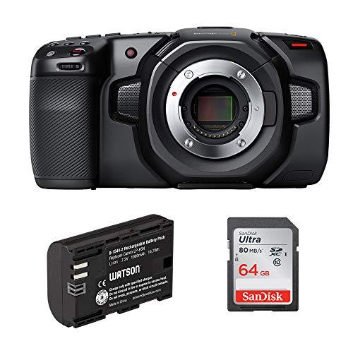 Blackmagic Design Pocket Cinema Camera 4K with LP-E6N Lithium-Ion Battery Pack & 64GB Ultra UHS-I SDXC Memory Card Bundle