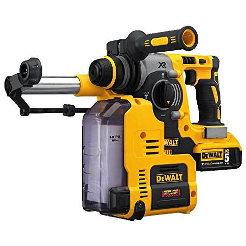 DEWALT DCH273P2DH 20V MAX XR Brushless 1' L-Shape SDS Plus Rotary Hammer Kit with Dust Extractor