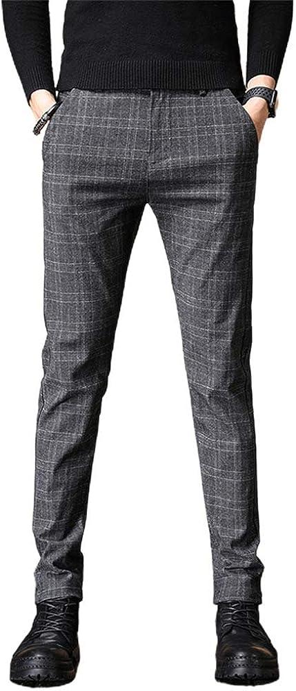 IDEALSANXUN Mens Stretch Slim Fit Pants Plaid Tapered Japan Maker New Dress Ranking TOP17 Leg