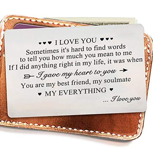BST&BAO Brieftasche Valentinstag Karte, Edelstahl Karte Geschenke Geldbörse Insert Jubiläum Geburtstagsgeschenke
