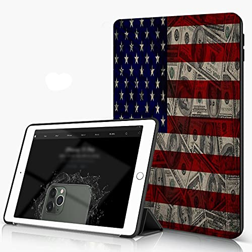 She Charm Carcasa para iPad 10.2 Inch, iPad Air 7.ª Generación,Bandera Americana y dólares,Incluye Soporte magnético y Funda para Dormir/Despertar