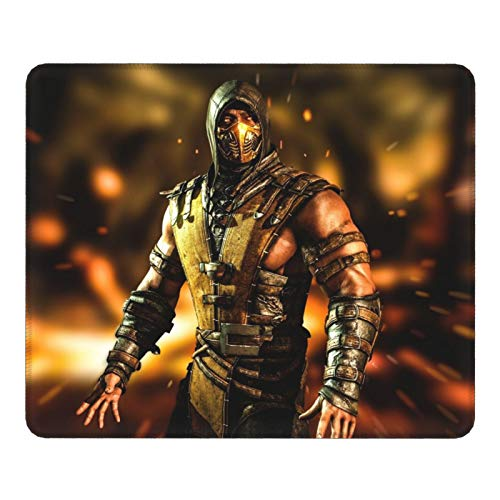Akeanu Mortal Kombat Scorpion Gaming Mouse Pad, Portable Office Non-Slip Rubber Mouse Pad, Used for Home Office Games, 11.8x9.8x0.12inch