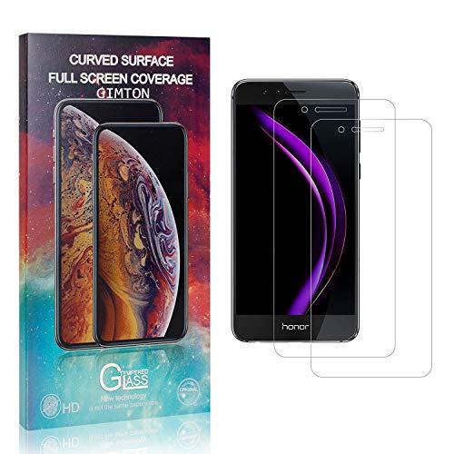 GIMTON Displayschutzfolie für Huawei Honor 8, 9H Härte Anti Fingerprint Displayschutz, Ultra Dünn Schutzfilm aus Gehärtetem Glas für Huawei Honor 8, 2 Stück