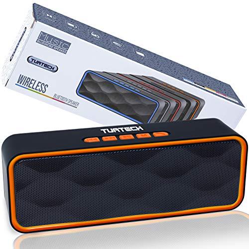 Cassa Bluetooth Portatile 5.0 Altoparlante TUATECH, 12 Watt, Speaker Bluetooth con Microfono, USB, TF Card, AUX, Radio, Stereo Potente. Cassa per Smartphone, Durata 9 ore, Batteria 1200mah, Orange