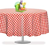 Red Gingham Checkered 6 Pack Premium Disposable Plastic Picnic Tablecloth 84' Inch Round Table Cover by Grandipity