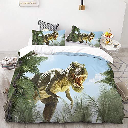 Meesovs® Sängklädesset tecknat djur dinosaurie 3D-tryck påslakan 2 örngott 50 x 75 cm täcke sängkläder set med dragkedja 100 % mikrofiber singelsäng 135 x 200 cm jul barn påslakan