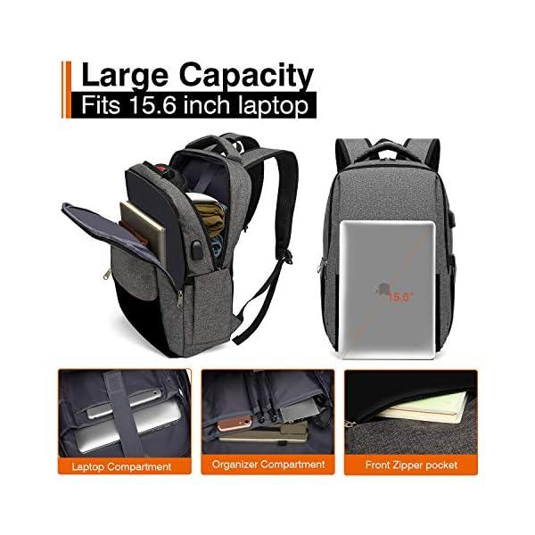51eIPLPDgAL. SS600  - XQXA Mochila para Portátil, Mochila Unisex Impermeable para Ordenador Portátil de hasta 15.6 Pulgadas,con Bolsillo Antirrobo y Puerto USB para Carga,para los Estudios,Trabajo o Viajes - Gris