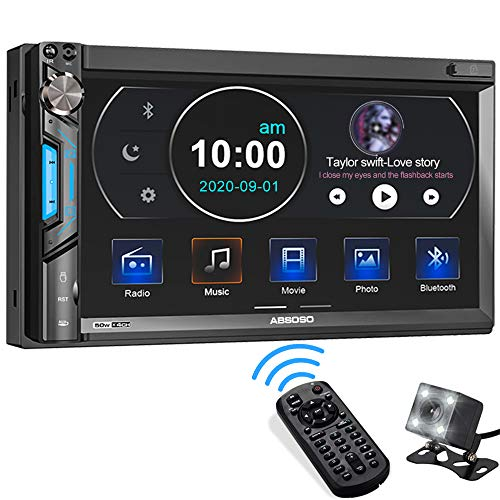Double Din Car Stereo System, ABSOSO 7 Inch HD Touchscreen MP5 Car Player, Bluetooth Car Radio Receiver Supports PhoneLink, Rear Front View Camera, AM/FM, USB/SD/AUX Input, Steering Wheel Control