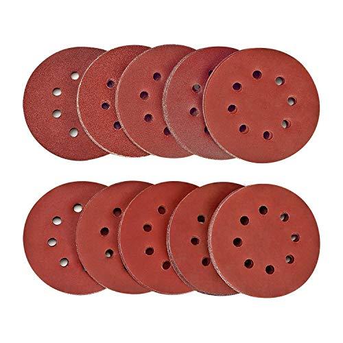SPTA 100tlg 125mm 40/80/120/180/320/400/600/800/1500/2000 Schleifscheiben Klett-Schleifpapier Klett-Schleifblätter Schleifpapiere Exzenter-Schleifer Körnung, je x10, 8 Löcher für Exzenterschleifer
