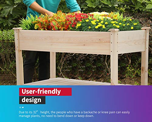Raised garden bed with legs 48x23x32 inch wheels elevated garden bed wood planter box kit for vegetable flower outdoor… 2 ✔【high quality materials】:the raised garden bed is made of no paint, garden bed use non-toxic fir wood, which is known for its strength and dimensional stability as well as its natural resistance to rot and pests. The 0. 6'' thick solid wood boards are only sanded to prevent any undesired injury caused by wood splinters. ✔【nature gardening buddy】:the garden bed use natural wood color makes your garden and greenhouse more original and healthy, and its natural wood grain on the boards bring a rustic and natural style to your garden. ✔【ergonomic design】:the garden bed built with a set of locking wheels to move the planter from place to place. The wood garden bed user-friendly design,the height about garden raise bed is 32. 3 inch, the people who have a backache or knee pain can easily manage plants,you don't need to bend down or keep down.