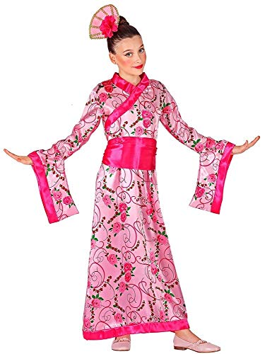 Das Kostümland Asiatische Prinzessin Geisha Japanerin Kostüm für Mädchen - Kimono Rosa Pink Gr. 116