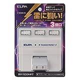 朝日電器 (業務用セット) ELPA 耐雷サージ機能付スイングタップ 3個口 個別スイッチ A-S500B(W) (×5セット)