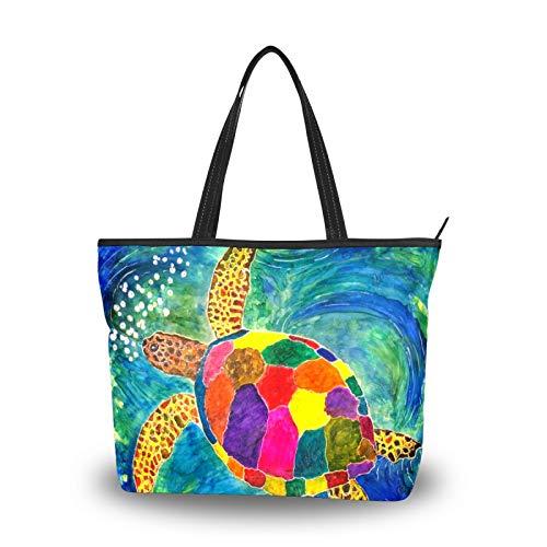 Bolso de mano para mujer, gran capacidad, viajes, casual, compras, trabajo, bolso de mano, bolso de mano, bolso de mano, hermoso y colorido bolso de tortuga marina