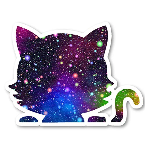 """Cute Cat Sticker Bright Galaxy Stickers - 2 Pack - Laptop Stickers - 2.5"""" Vinyl Decal - Laptop, Phone, Tablet Vinyl Decal Sticker (2 Pack) S81871"""