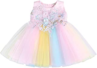 ❤️ Mealeaf ❤️ Flower Kids Baby Girl Tutu Dress Rainbow Princess Birthday Party Pageant Costume(Pink,12)