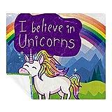 Manta de microfibra para todas las estaciones, linda montaña de unicornio arco iris