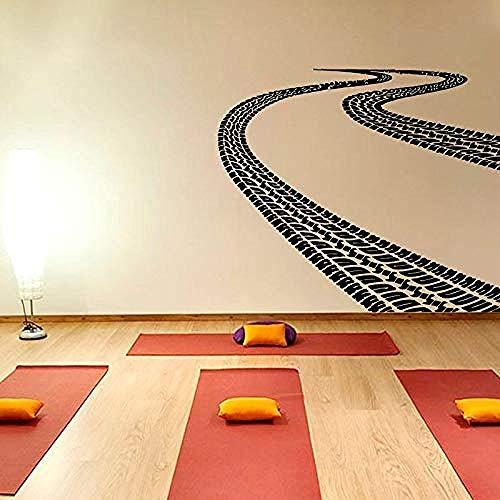 Huellas de neumáticos pegatinas de pared de carretera sala de estar calcomanía de sala de juegos decoración del hogar póster de arte Mural 57x66cm