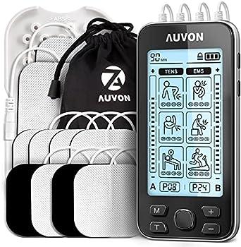 AUVON 4 Channel TENS Unit Muscle Stimulator Machine (10 pads)