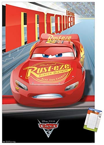 Trends International Disney Pixar Cars 3 - Lightning Wall Poster, 22.375' x 34', Poster & Mount Bundle