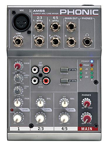 Phonic AM55 – compacte mixer 3-kanaals (1 Mic/Line + 2 stereo)