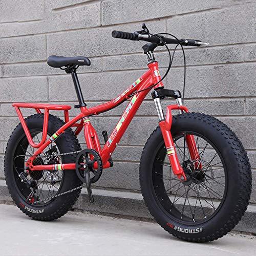 ZGYQGOO Bambino Fat Tire Mountain Bike, Spiaggia Neve Bike, Doppio Freno a Disco Cruiser Bikes, Leggero ad Alta Acciaio al Carbonio Telaio della Bicicletta, 20 Pollici Ruote
