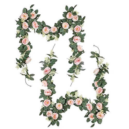 Artificial Vines Flowers Artificial Rose Rattan Simulation Wreath Rose Garland Rattan Decoration Pink for Hotel Wedding Home Party Garden Craft Art 2PCS