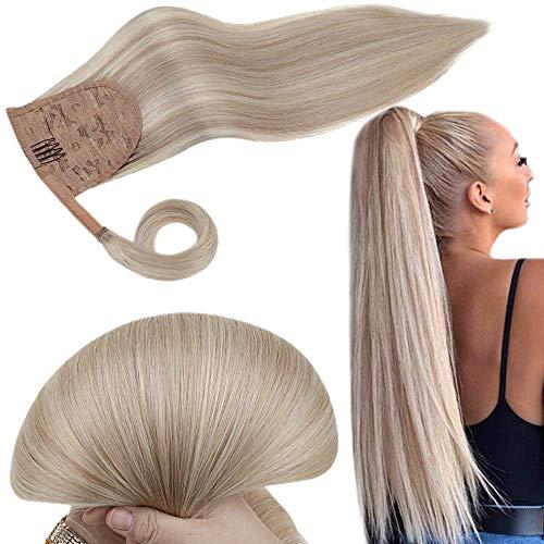 RUNATURE Ponytail Human Hair 14 Zoll Farbe 18 Aschblond Mit Farbe 613 Gebleichtes Blond Hervorgehoben 80g 1 Stück Pro Packung Gerade Pferdeschwanz Haarteil Echthaar Wrap Around Ponytail Extensions