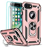 LeYi Compatible for iPhone 8 Case, iPhone 7 Case, iPhone 6s/ 6 Case with [2 Pack] Tempered Glass Screen Protector for Women,Military-Grade Phone Case with Ring Kickstand for iPhone 6/6s/7/8, Rose Gold