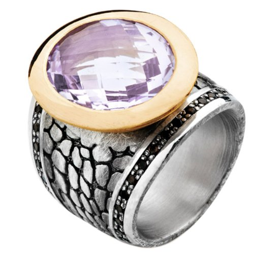 Drachenfels Design Damen-Ring 925 Sterling Silber Rauchquarz violett Gr.56 (17.8) D DS 15-4/VG