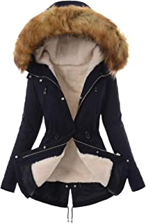 معطف WSPLYSPJY نسائي كلاسيكي بقلنسوة بطباعة مموهة من الفرو الصناعي مبطن بالفرو