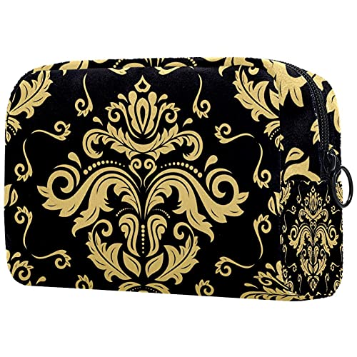 Papier Peint Mandala Noir Jaune doré, Trousse de Maquillage Pochette Cosmétique avec Sac à Cosmétiques de Voyage Portable à Glissière Noire pour Femmes