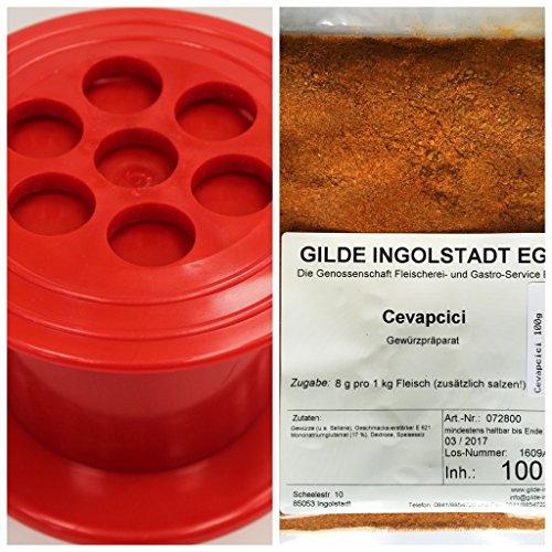 Set Cevapcici Presse + Cevapcici-Gewürzpräparat 100g. Cevapcici Gewürz 8g zugeben pro 1 Kg Fleisch, reicht bis zu 12,5 Kg