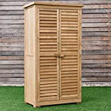 "63"" Tall Wooden Garden Storage Shed in Shutter Design Tools Improvement Home Organization Storage Sheds Patio, Lawn Storage Deck Boxes Tool House Yard, Outdoors Shade, External, Outside, Courtyard."