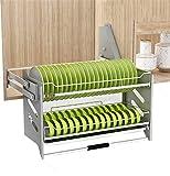 Estante Secado Platos Sobre Fregadero, Vajilla De Cocina Profesional Storage Rack, Estante Sistema De Elevación Con Amortiguador Con Mango Antideslizante, Acero/Gris,W 36 * D 28 * H 53cm
