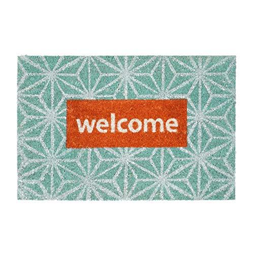 Relaxdays–Felpudo Coco Mensaje Welcome Flores 40x 60Coco Felpudo con Base Antideslizante de PVC–Felpudo de Fibra de Coco como Felpudo y Puerta Alfombrilla, Turquesa de Color Rojo