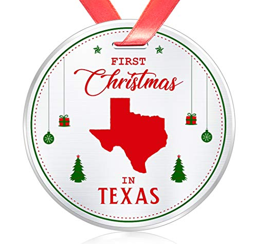 Elegant Chef First Christmas in Texas Ornament- Tree Hanging TX Lover Decoration for Xmas Holidays Celebration- 3 inch Flat Stainless Steel- Festival Decor Long Distance Gift for Family Friends